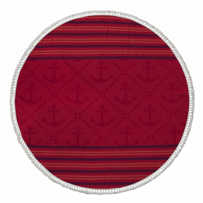 Anchor Round Beach Towels - Red