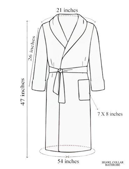 Shawl Collar Bathrobe Dimension